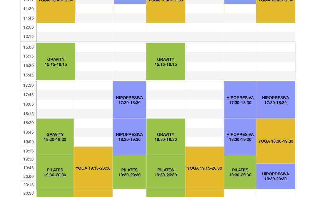 Horario de actividades en Fisio Sport Murcia